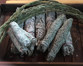 "Choose Your Smudge!  Many Kinds! White Sage ~ Mount Shasta ~ Seven Directions ~ Spirit Calling ~ Love ~ 10"" Sweetgrass Braid ~ MORE"