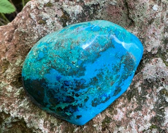 Chrysocolla With Malachite, Large Semi-Polished Palm Stone, Stone of Peace and Healing, 176.50 Grams, CR9181