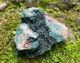 Druzy Malachite on Matrix, Raw, Africa, 79.80 Grams, CR8609