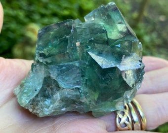 Green Fluorite Cluster, Cubical, Veils and Rainbow, Mexico, 155.30 Grams, CR9244