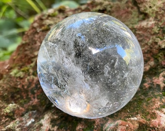 1/2 LB- Lemurian Sphere, Polished, Silver Veils, Rainbow Points, 53mm, 203.00 Grams, Brazil, Stand Included, CR9218