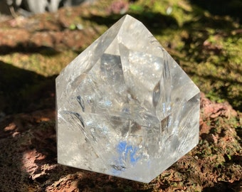 Standing Quartz, Polished Point, Clear, Silver & Rainbow Veils,  Mine Fresh, Brazil, 274.70 Grams, CR9217
