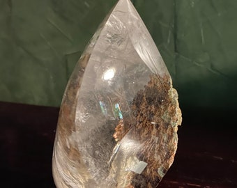 2 LBS+ Lodalite Flame, Carved Smokey Quartz, Rainbows, Chlorite, Shaman Dream Stone, Standing Included Quartz, 927.80 Grams, Brazil, CR9214