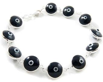 Sterling Silver & Glass Bead Sultani Black Evil Eye Bracelet, Storage Pouch Included