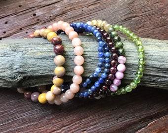 Genuine Gemstone Bead Bracelet, Stretch, Storage Pouch Included, Choose your Gemstone, LSGB