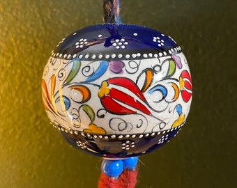 "Traditional Turkish Çini Ball, Kütahya Çini Sanatçıları Ceramic, Decorative Home Ornament, 3"" on Hanging Chain"