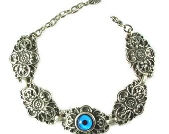 Nazari Evil Eye Bracelet, Blue, Silver Plated, Storage Pouch Included,