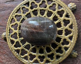 Black Moonstone Polished Palm Stone, 109.01 Grams, India, CR8578