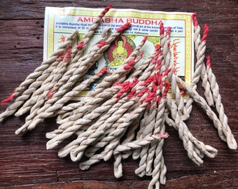 Rope Incense, CHOOSE From Amitabha Buddha Tibetan, Vaja Sacred Dupaya, Sai Baba Nag Champa, Sandalwood, Rose, 35-45 pieces approx per pack