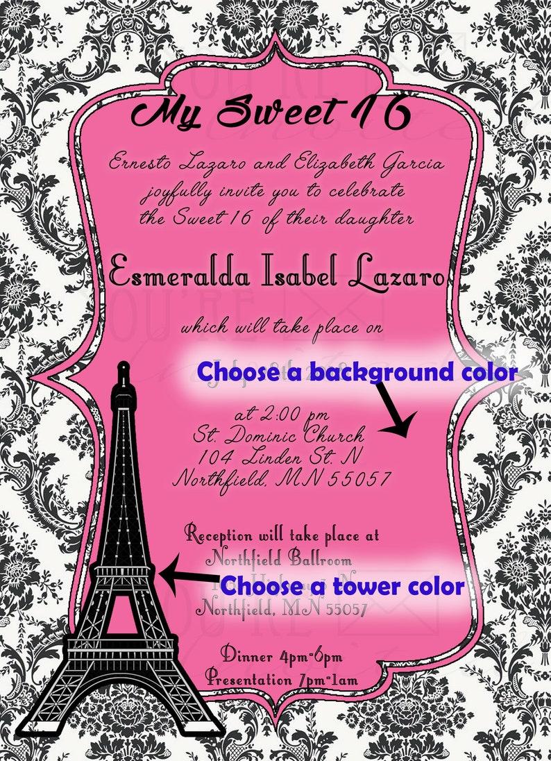 Eiffel Tower invite Elegant invite Sweet Sixteen invitations with envelopes Printed Invitation Quincea\u00f1era invitation Paris Invitation