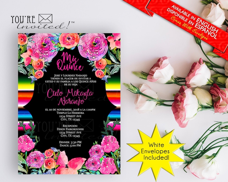 Mexican Sarape Quinceanera Invite Party Theme Or Sweet Sixteen With Envelopes Printed Invitation
