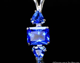 Siberian Blue Quartz Gemstone Healing Crystal Pendant .925 SS