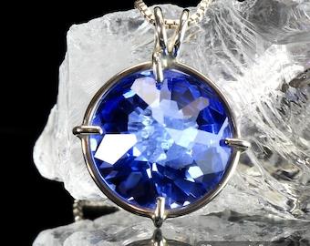Siberian Blue Quartz Radiant Heart Pendant .925 SS