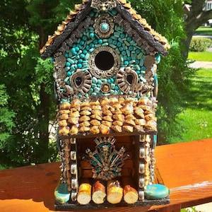 Functional Birdhouse Mosaic Birdhouse Outdoor Birdhouse Garden Birdhouse African Style Birdhouse