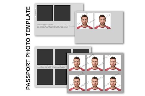 Passport Photo Template 4x6 And 5x7 Diy Passport Photo Etsy