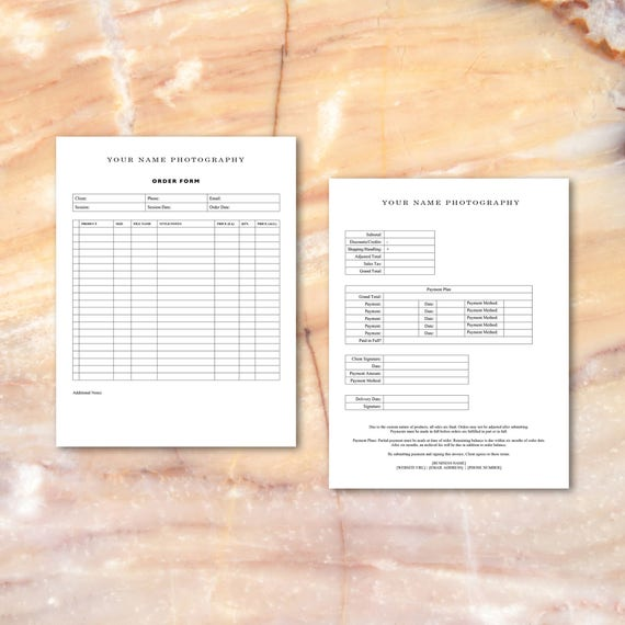 Photographer Order Form Template Ips Photographers Microsoft Word Instant Download