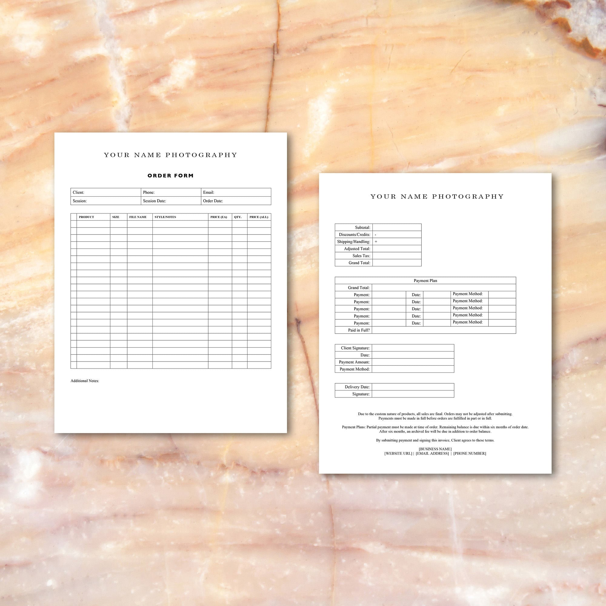 Photographer Order Form Template Ips Photographers Etsy