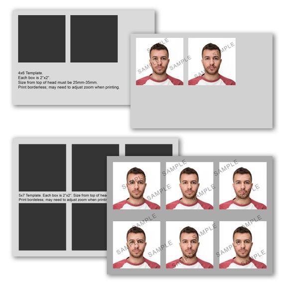 Passport photo template 4x6 and 5x7 diy passport photo etsy image 0 maxwellsz