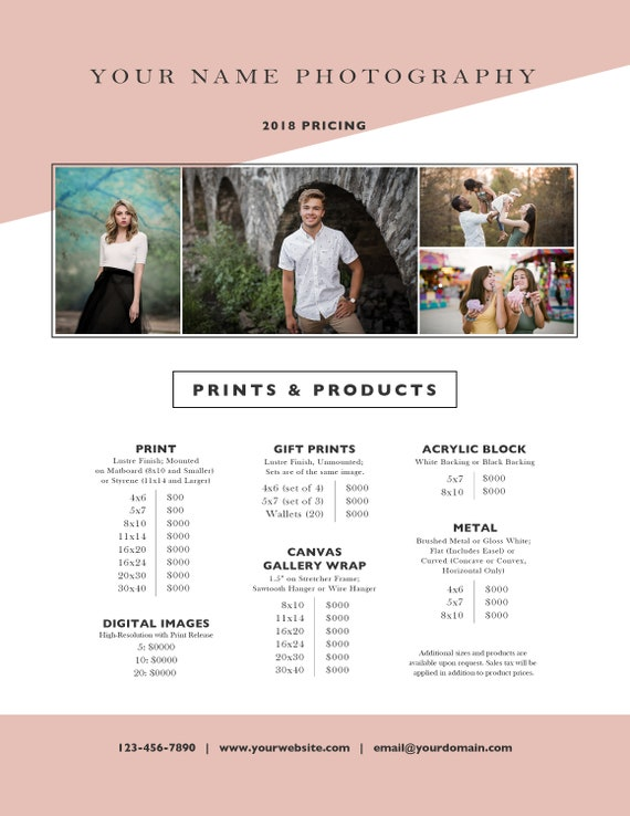 Photographer Pricing Guide, Photography Price List, Investment Guide,  In-Person Sales, IPS - Photoshop  psd Template - INSTANT DOWNLOAD
