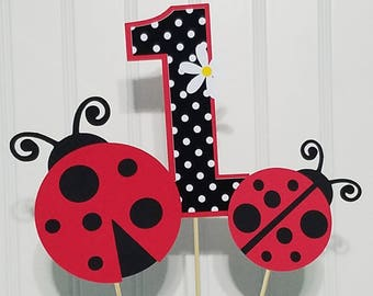 Ladybug Centerpiece Picks Decorations Party Baby Shower Red Black Centerpieces Lady Bug