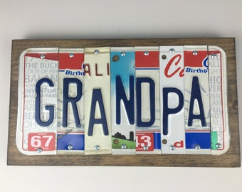 License Plate Sign-- Grandpa Gift- Grandpa Sign-- Grandpau0027s Birthday- Grandpa Birthday Gift- Car Sign - Vintage License Plates- Garage Sign & Grandpa birthday | Etsy