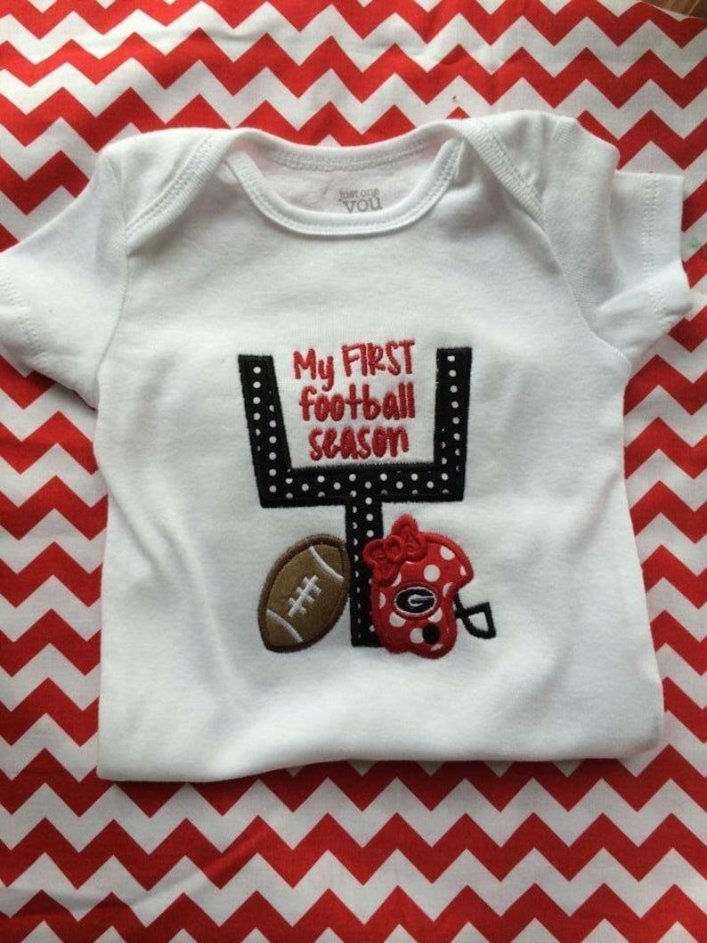 bd40e7fb5 UGA Georgia Bulldogs First Football Season Girl Onesie | Etsy
