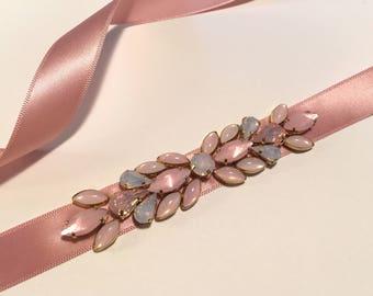 Delicate Rose Blush and Pink Opal Crystal Embellished Skinny Satin Ribbon Bridesmaids Sash, Bridal Belt Accessory