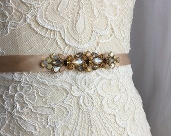 Delicate Champagne Gold Skinny Satin Vintage Inspired Crystal Jewel Embellished Ribbon Bridesmaids Sash, Bridal Belt