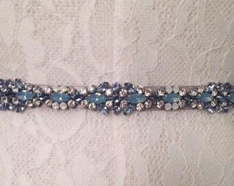Icy Sky Blue, Opal, Silver and Crystal Handcrafted Floral Embellished Satin Ribbon Bridesmaids Sash Bridal Belt