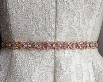 Blush, Rose Pink, and Opal Crystal Handcrafted Embellished Satin Ribbon Bridesmaids Sash Bridal Belt