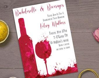 Wine Bachelorette Party Invitation, Bachelorette party invite, wine party, beverages invite, bachelorette and beverages invitation, wine