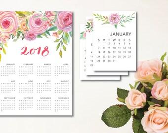 2018 Calendar, 2018 Printable Calendar, Printable Desk Calendar, Printable 12 Month Calendar, Printable Calendar, Calendar for Home Calendar