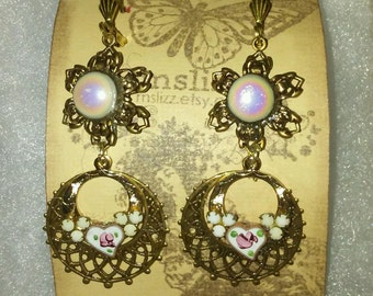 Victorian Chandelier Floral Layered Earrings Pearl Settings and Enameled Hearts