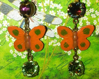Victorian Enameled Butterflies with Volcano Swarovski Crystals and Olive Drop