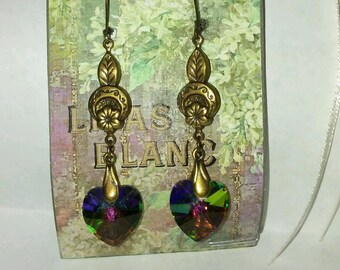 Art Nouveau Earrings with Swarovski Vitrail Heart Drops