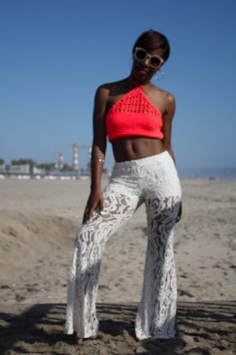 Harper Coral Crochet Halter