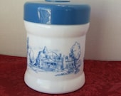White and Blue jar Milk Glass Jar, Milk Glass Container Cigar Jar, Americana Canister Boston Scene White Canister with Blue Picture