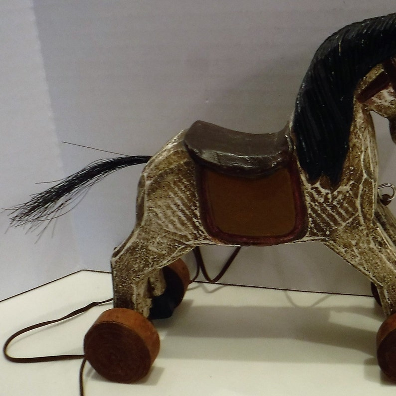 Vintage Horse Toy Decor Wood Toy Decor Horse On Wheels Vintage Pull Horse Toy Push Toy Horse Decor Rolling Horse Toy Wooden Horse