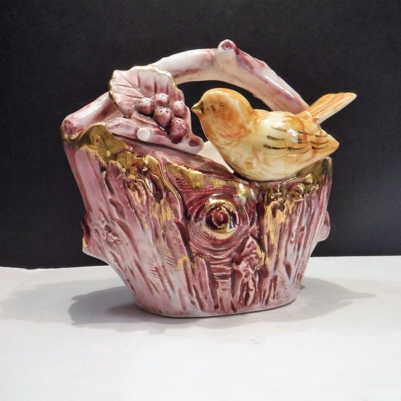 Vintage Ucagco Japan Gold Leaf Ceramic Basket wBird 5 x 5 Decor Collectible