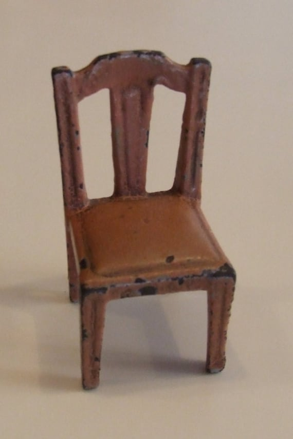 Vintage Pink Metal Chair, Miniature Metal Chair, Doll Furniture, Straight  Back Chair,Vintage Worn Very Cool Chipped Paint StraightBack Chair