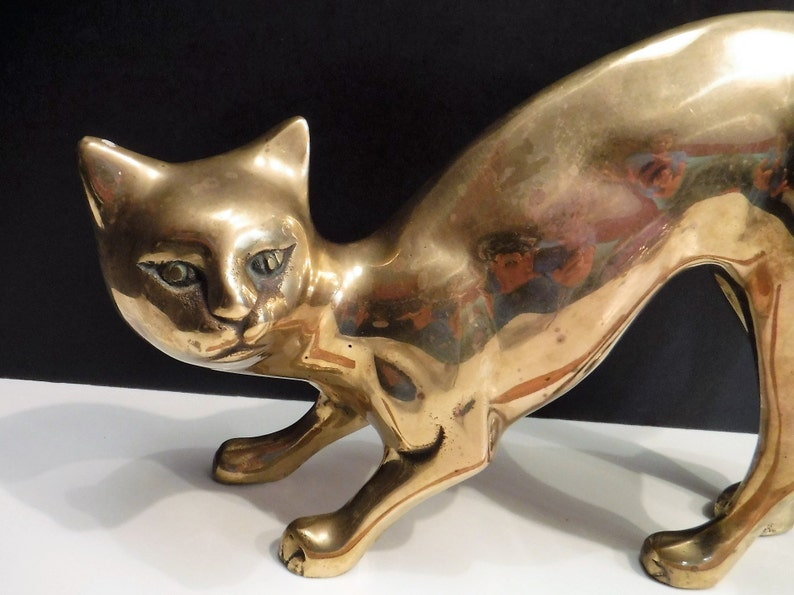 13 inch Height Metal Cat Figurine Statue Sculpture Home Office Decoration Gift
