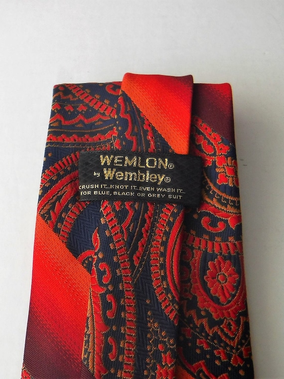 Wembley Wemlon Fabric Vintage Tie Navy and Blues polka dots flowers