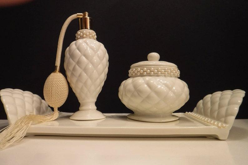 Avon Vanity Set Ivory Vanity Tray With Atomizer And Powder Etsy