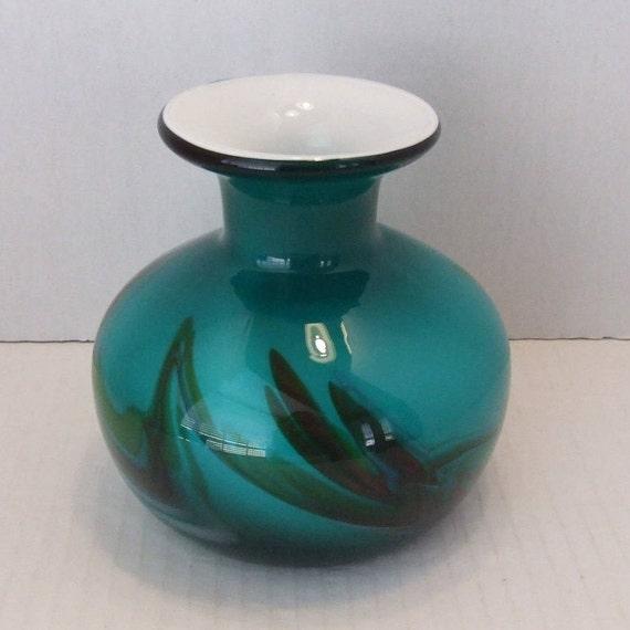 Gorgeous Vase Cased Glass Vase With White Lining Glass Art Etsy