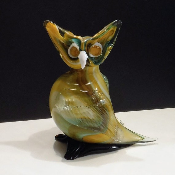 Glass Owl Owl Vase 8 1 2 Inches Tall Large Hand Blown Art Etsy