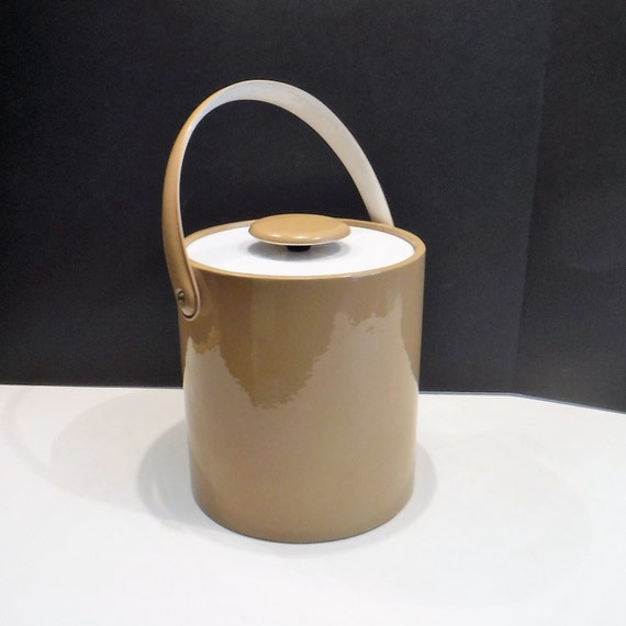 Retro Ice Bucket Vinyl Ice Bucket Beige Covered Wine Cooler  c14791af694