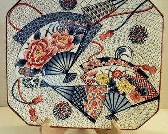 Asian Fan Rectangle Porcelain Platter, Oriental Rectangle Porcelain Plate 13 x 11 Inches, Beautiful Unique Shaped Plate,Fan Design Plate
