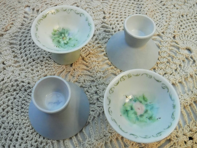 Porcelain Salt Cellars Fine Dining Acces Cottage Chic Tableware Accessory Trinket Dish Set of 4 Unique Salt Cellars Floral Salt Cellars