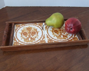 Vintage Hot, Serving Tray, Wood  and Tile Tray with handles, Vintage Wood Ceramic Tile Serving Tray, Vanity Tray, Decorative Tray, Tile Tray