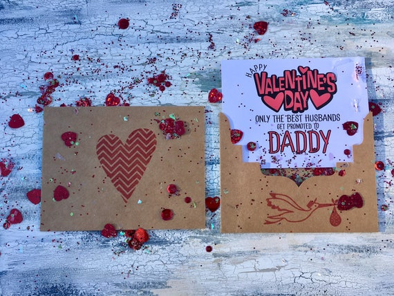 Stork New Baby Announcement XOXO Love Happy First Valentines Day Newborn Kraft Blank Greeting Card And Envelope Handcrafted Handmade Stamped